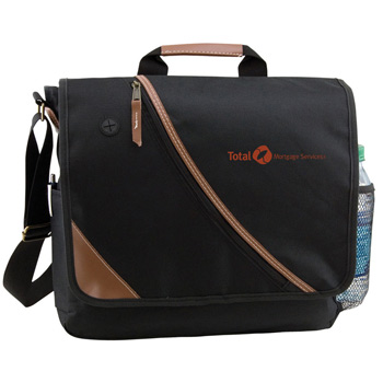 Leatherette Accent Messenger Bag